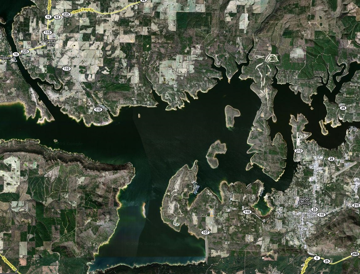 Greers Ferry Lake - satellite view